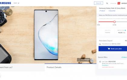 Samsung Device on Rent