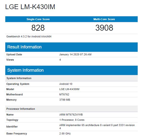 LG K43 Alleged LGE LM-K430IM