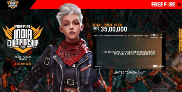 REGISTER FOR THE FREE FIRE INDIA CHAMPIONSHIP 2020