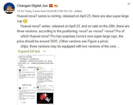 Huawei Nova 7 series might launch in China soon